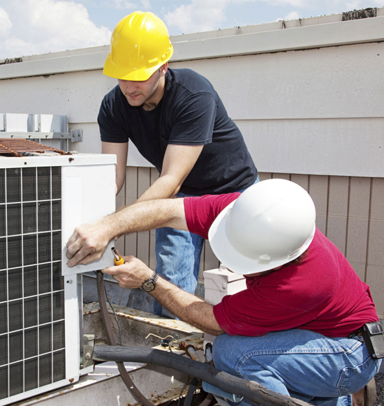 Two men installing HVAC